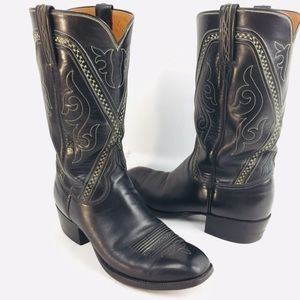 Lucchese Black Leather Western Riding Cowboy Boots